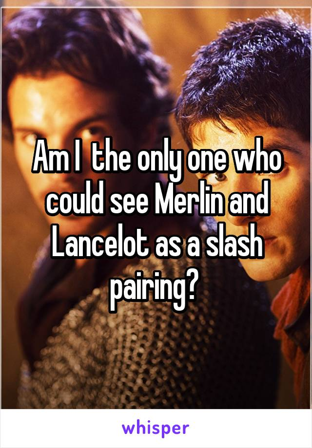 Am I  the only one who could see Merlin and Lancelot as a slash pairing?