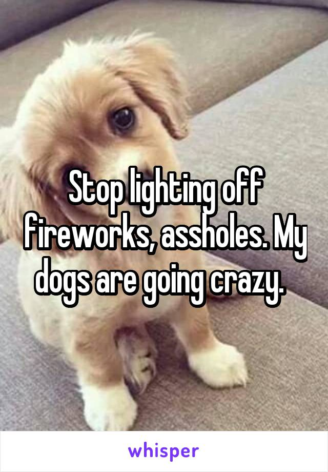 Stop lighting off fireworks, assholes. My dogs are going crazy.