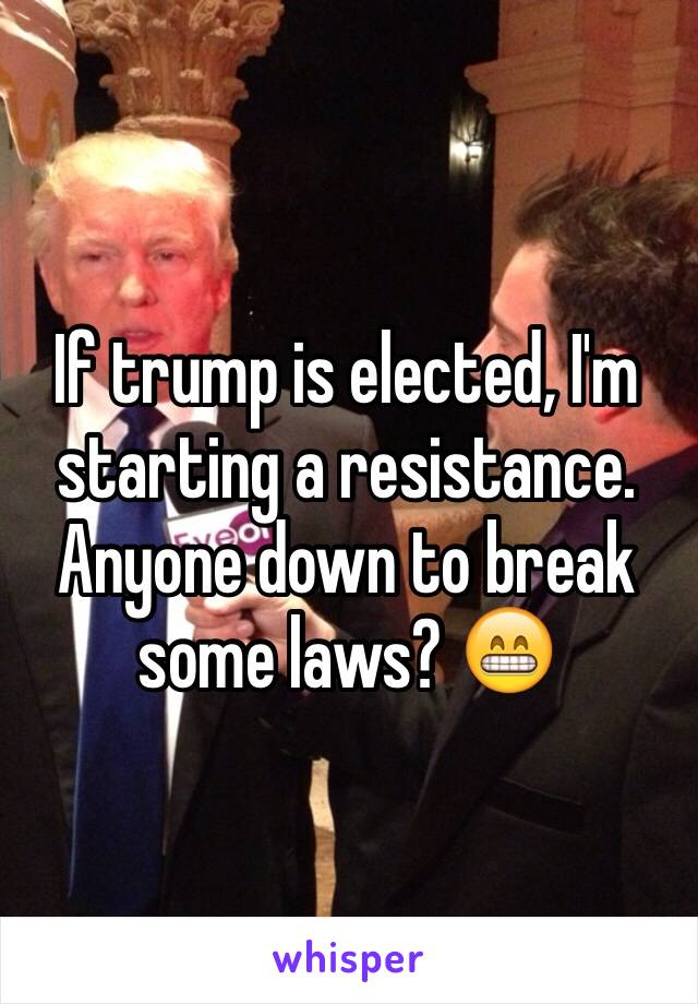 If trump is elected, I'm starting a resistance. Anyone down to break some laws? 😁