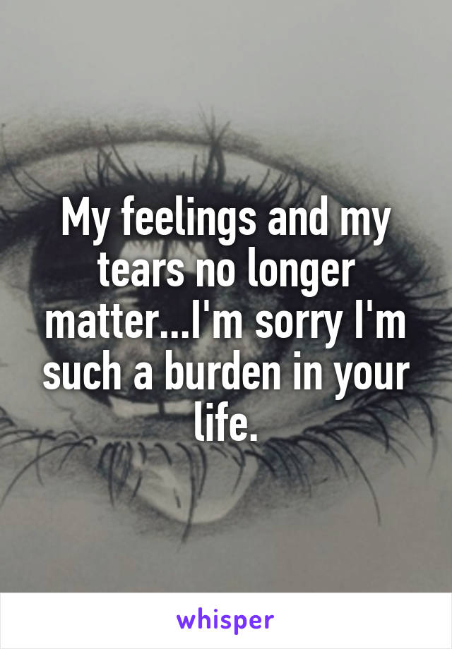 My feelings and my tears no longer matter...I'm sorry I'm such a burden in your life.