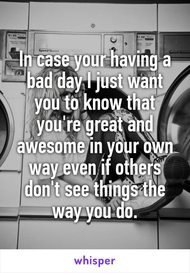 In case your having a bad day I just want you to know that you're great and awesome in your own way even if others don't see things the way you do.