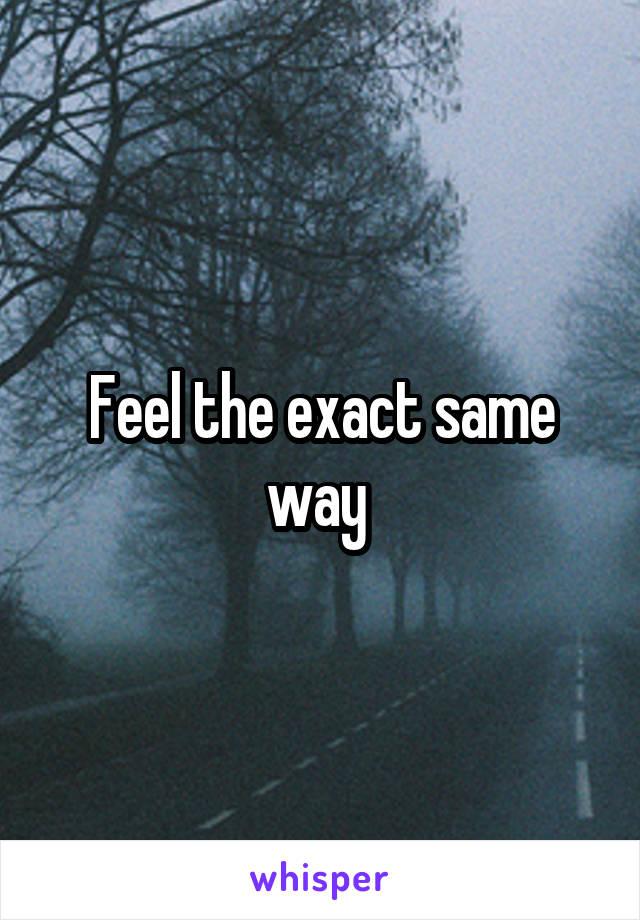 Feel the exact same way