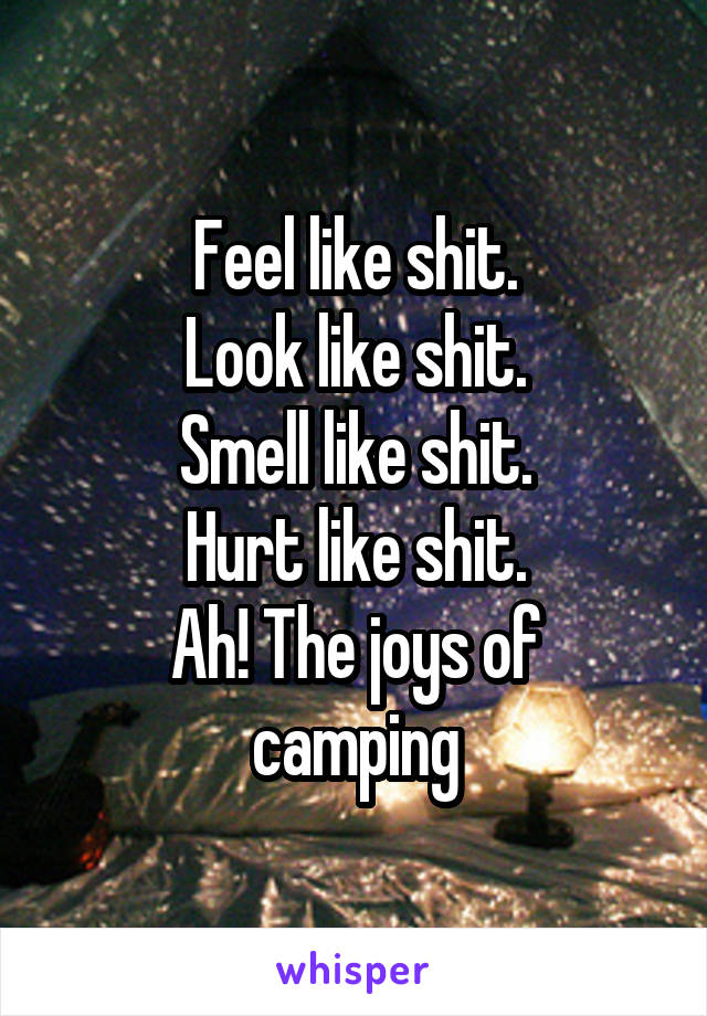 Feel like shit. Look like shit. Smell like shit. Hurt like shit. Ah! The joys of camping