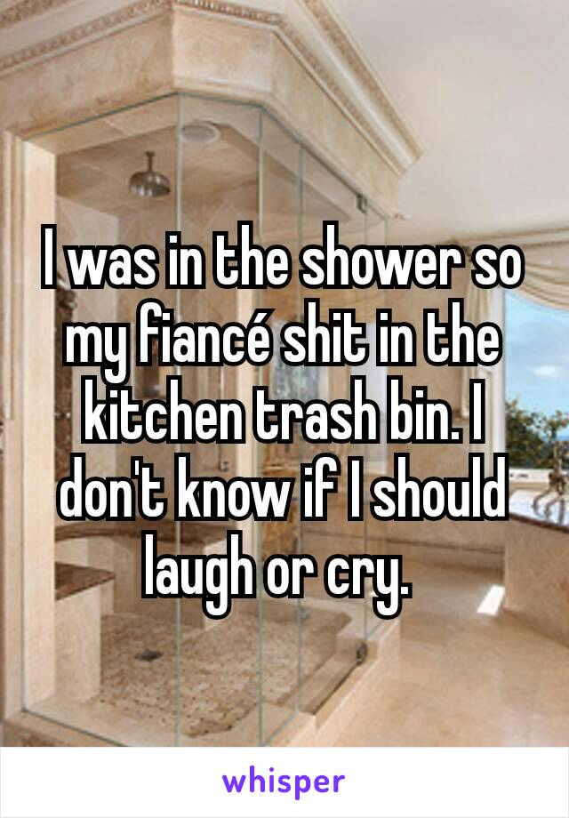 I was in the shower so my fiancé shit in the kitchen trash bin. I don't know if I should laugh or cry.