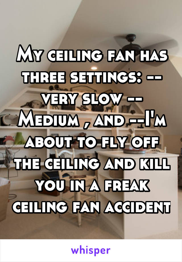 Ceiling fan has three settings very slow medium and im my ceiling fan has three settings very slow medium and im about to aloadofball Choice Image