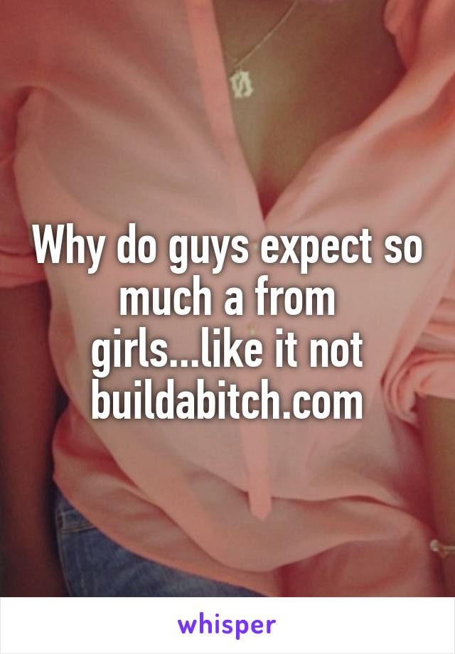 Why do guys expect so much a from girls...like it not buildabitch.com