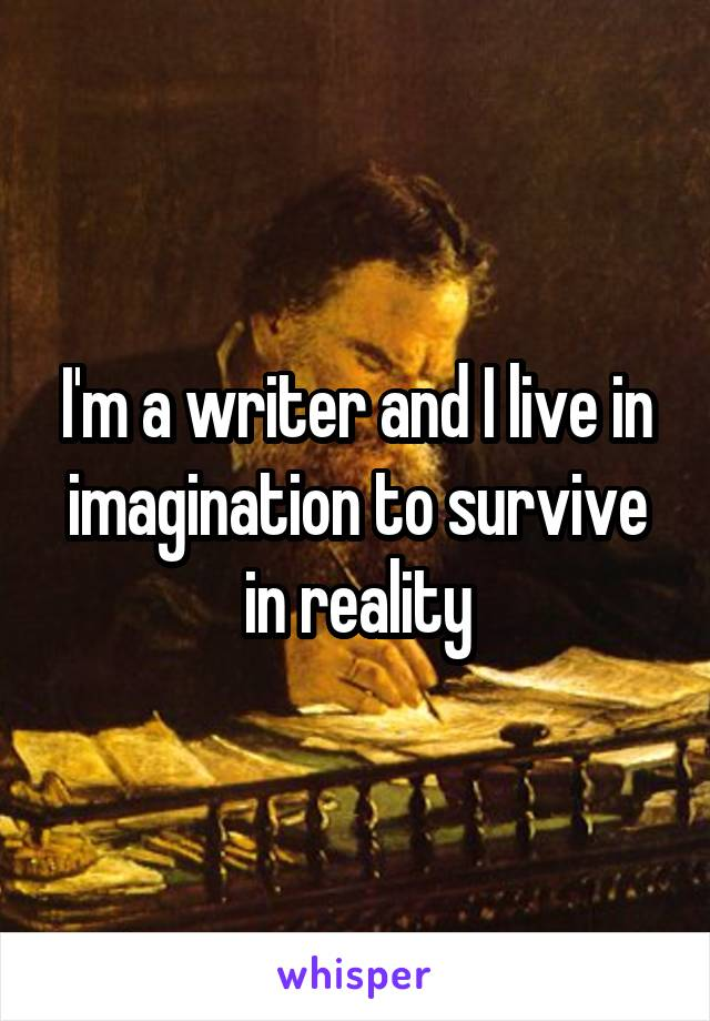I'm a writer and I live in imagination to survive in reality