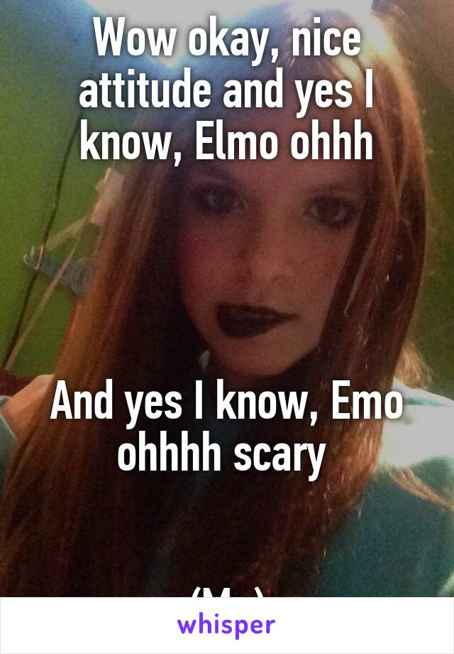 wow okay nice attitude and yes i know elmo ohhh and yes i know