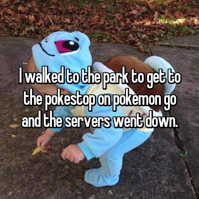 I walked to the park to get to the pokestop on pokemon go and the servers went down.