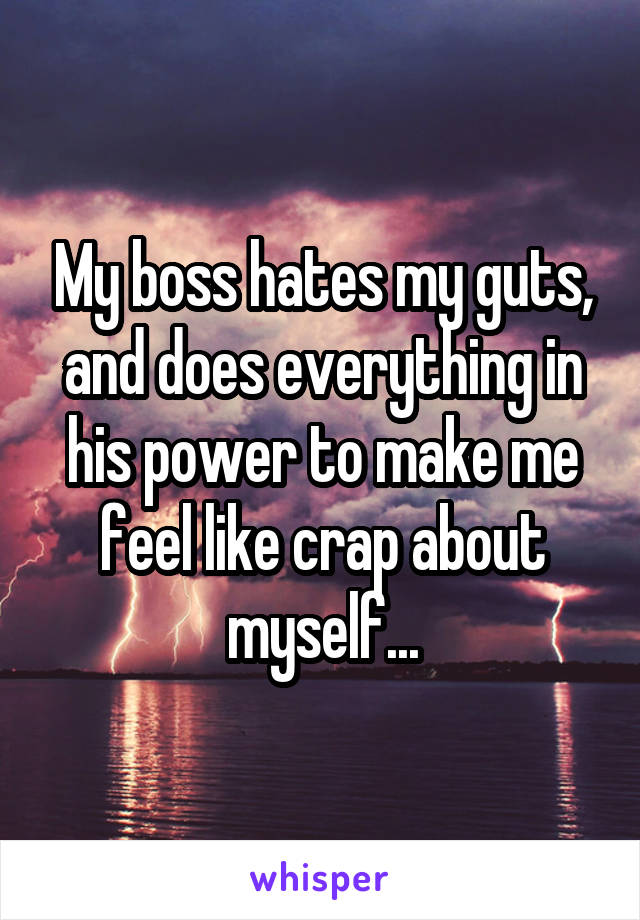 My boss hates my guts, and does everything in his power to make me feel like crap about myself...