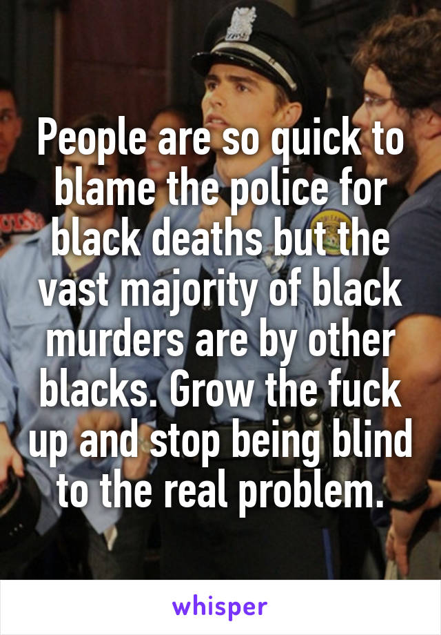People are so quick to blame the police for black deaths but the vast majority of black murders are by other blacks. Grow the fuck up and stop being blind to the real problem.