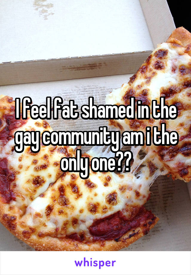 I feel fat shamed in the gay community am i the only one??