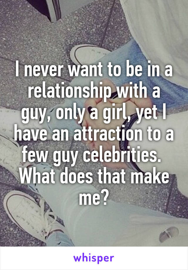 I never want to be in a relationship with a guy, only a girl, yet I have an attraction to a few guy celebrities.  What does that make me?