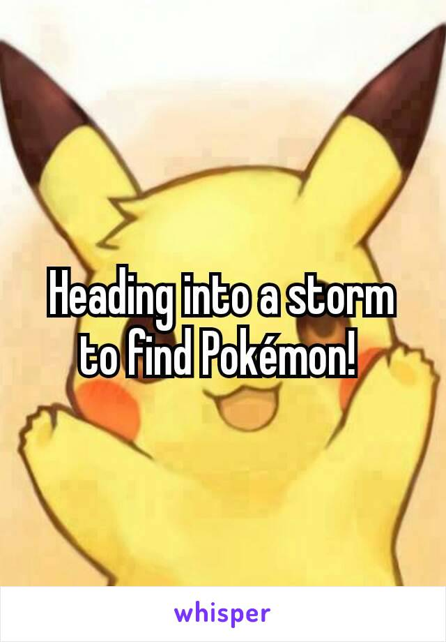 Heading into a storm to find Pokémon!