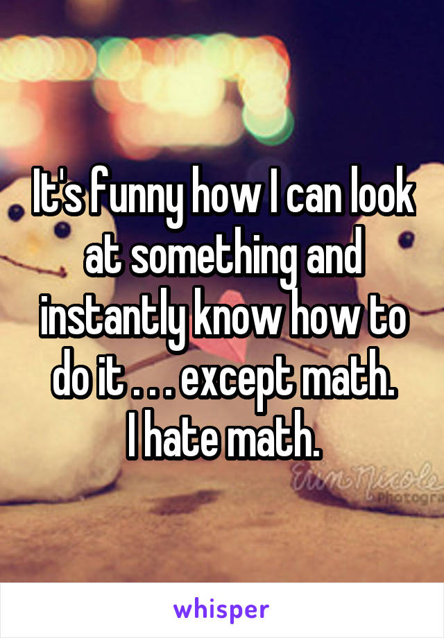 It's funny how I can look at something and instantly know how to do it . . . except math. I hate math.