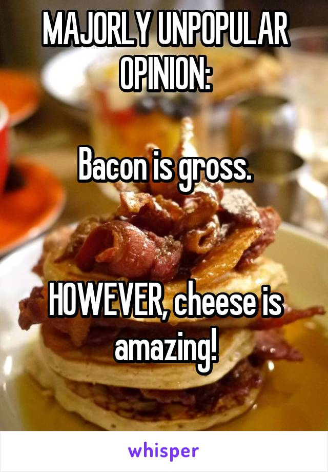 MAJORLY UNPOPULAR OPINION:  Bacon is gross.   HOWEVER, cheese is amazing!