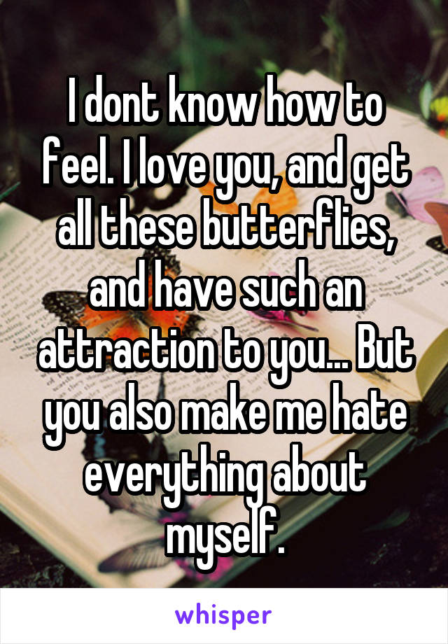 I dont know how to feel. I love you, and get all these butterflies, and have such an attraction to you... But you also make me hate everything about myself.