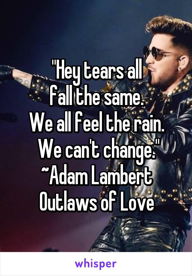 """Hey tears all  fall the same.  We all feel the rain.  We can't change."" ~Adam Lambert Outlaws of Love"