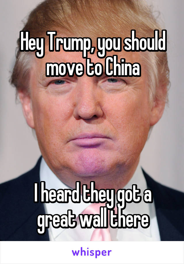 Hey Trump, you should move to China     I heard they got a great wall there