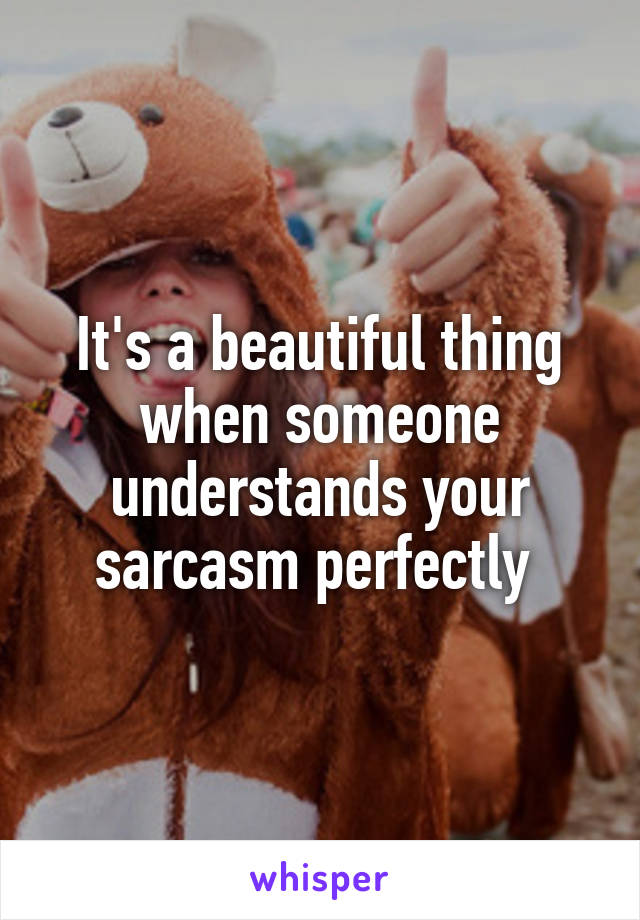 It's a beautiful thing when someone understands your sarcasm perfectly