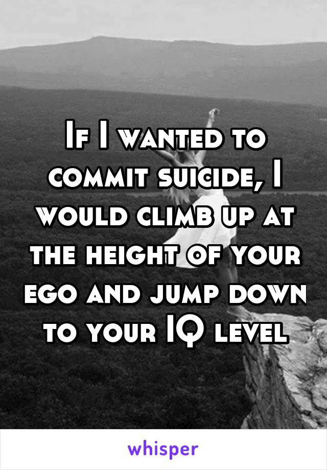 If I wanted to commit suicide, I would climb up at the height of your ego and jump down to your IQ level