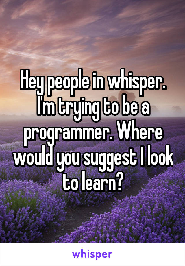 Hey people in whisper. I'm trying to be a programmer. Where would you suggest I look to learn?