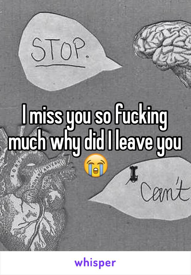 I miss you so fucking much why did I leave you 😭