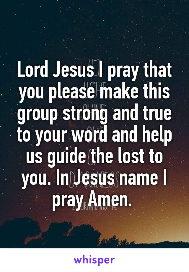 Lord Jesus I pray that you please make this group strong and true to your word and help us guide the lost to you. In Jesus name I pray Amen.