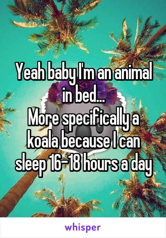 Yeah baby I'm an animal in bed... More specifically a koala because I can sleep 16-18 hours a day