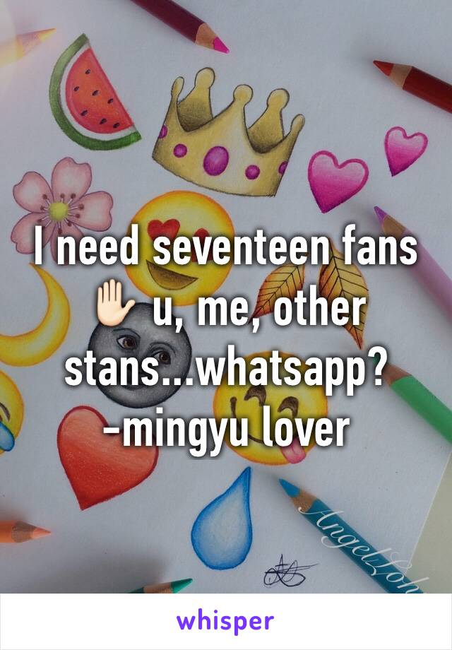 I need seventeen fans✋🏻 u, me, other stans...whatsapp?  -mingyu lover