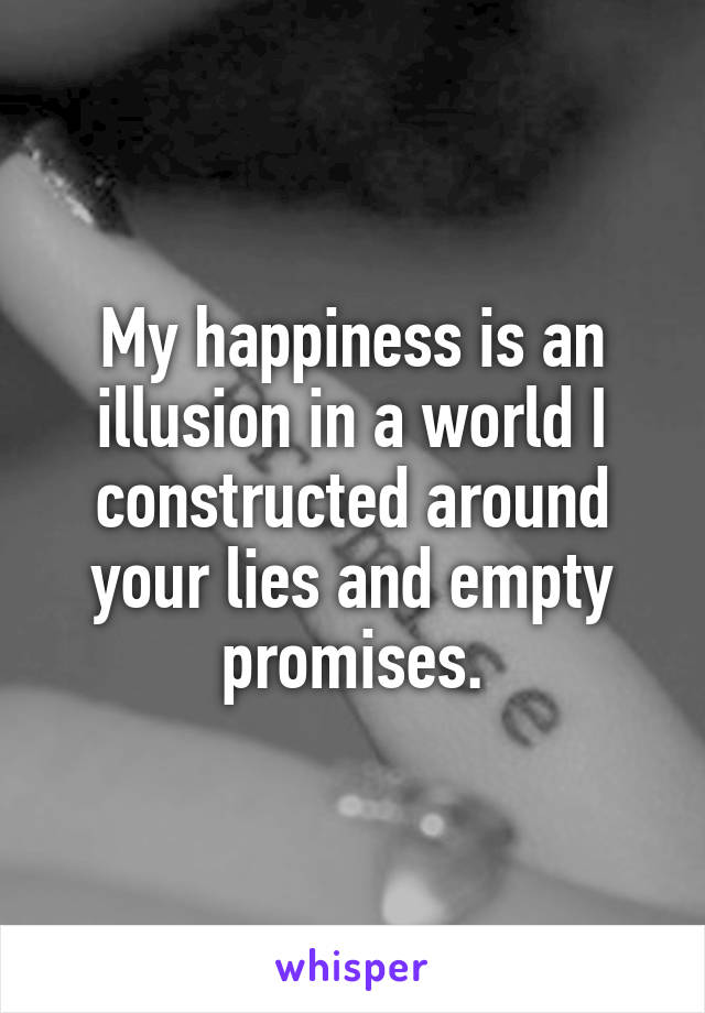 My happiness is an illusion in a world I constructed around your lies and empty promises.