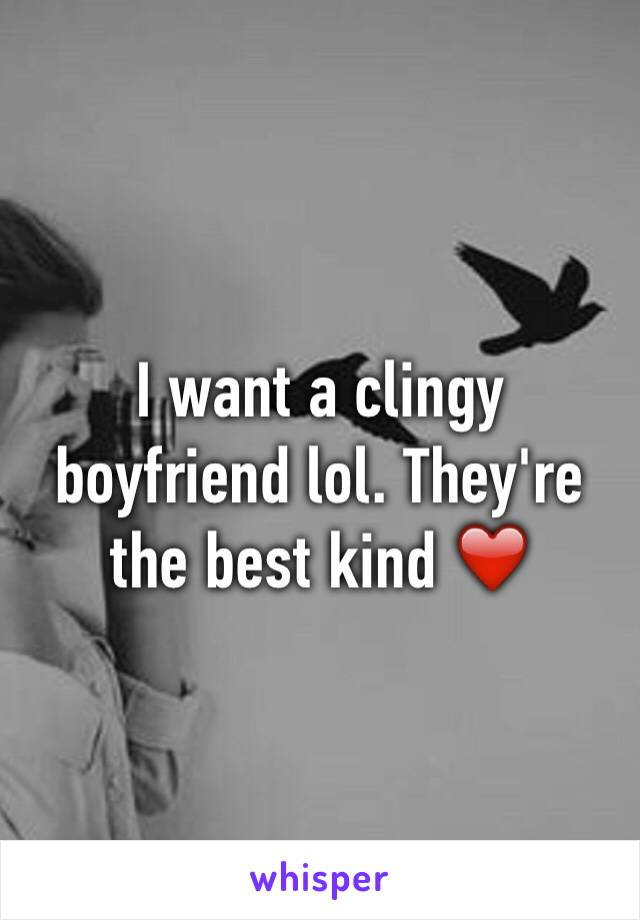 I want a clingy boyfriend lol. They're the best kind ❤️