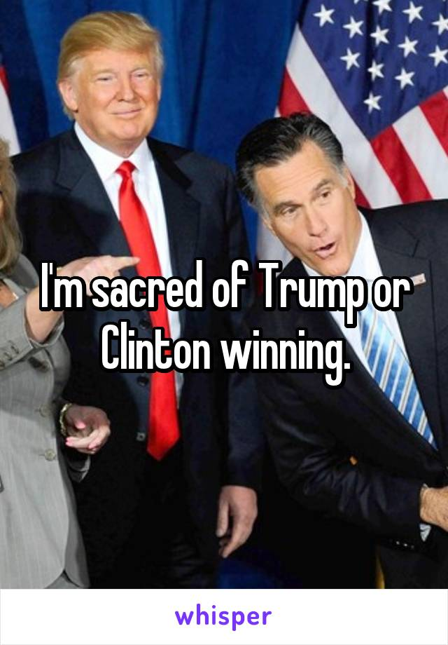 I'm sacred of Trump or Clinton winning.