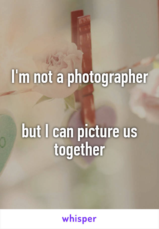 I'm not a photographer   but I can picture us together