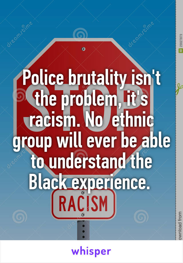 Police brutality isn't the problem, it's racism. No  ethnic group will ever be able to understand the Black experience.