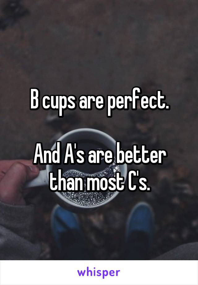 B cups are perfect.  And A's are better than most C's.