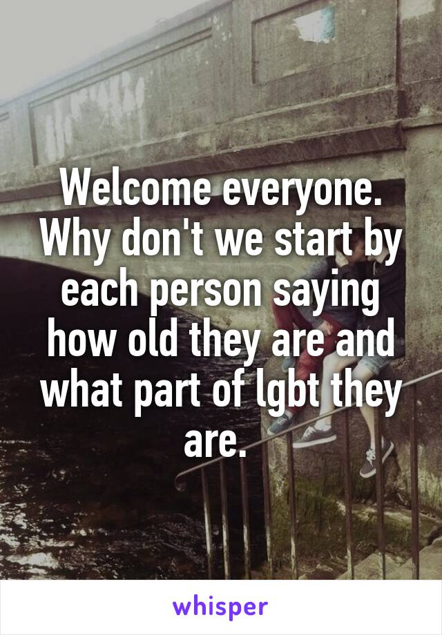 Welcome everyone. Why don't we start by each person saying how old they are and what part of lgbt they are.
