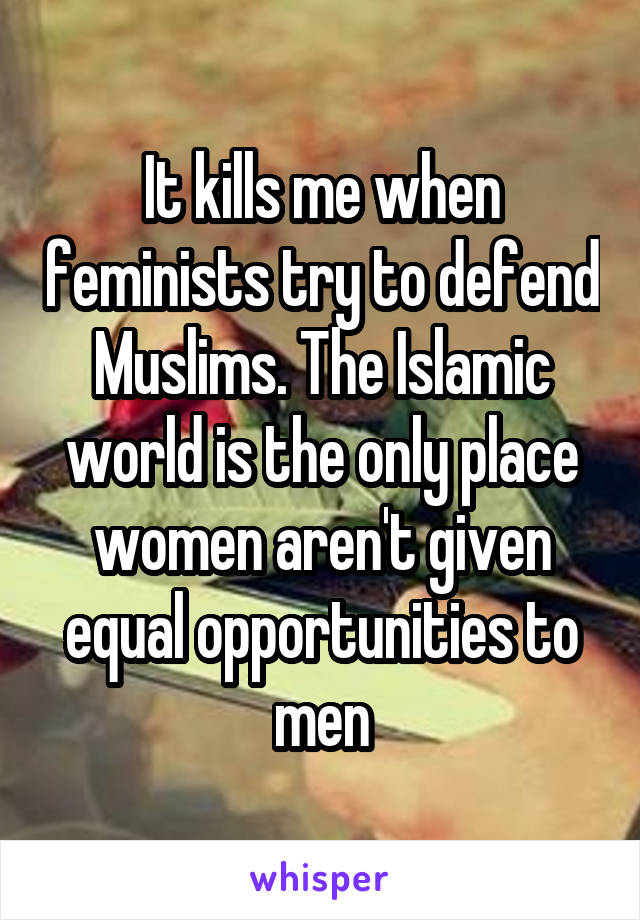 It kills me when feminists try to defend Muslims. The Islamic world is the only place women aren't given equal opportunities to men