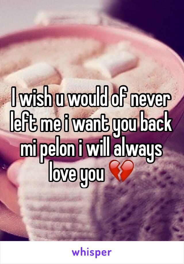 I wish u would of never left me i want you back mi pelon i will always love you 💔