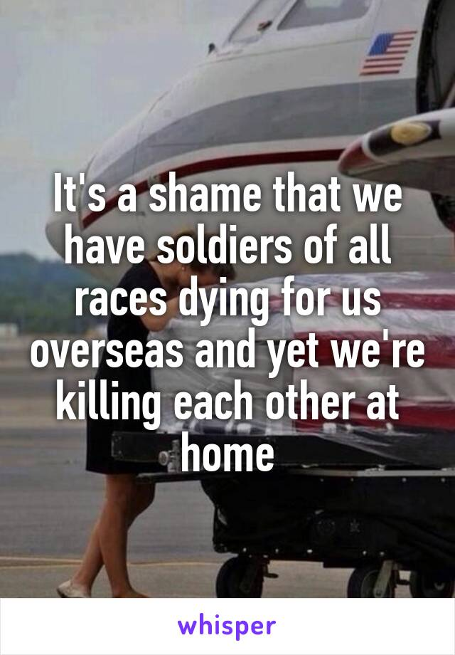 It's a shame that we have soldiers of all races dying for us overseas and yet we're killing each other at home