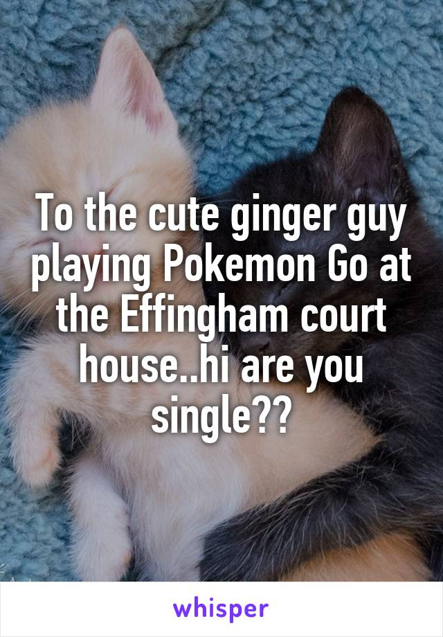 To the cute ginger guy playing Pokemon Go at the Effingham court house..hi are you single??