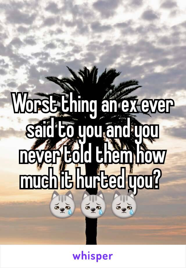 Worst thing an ex ever said to you and you never told them how much it hurted you?  😿😿😿
