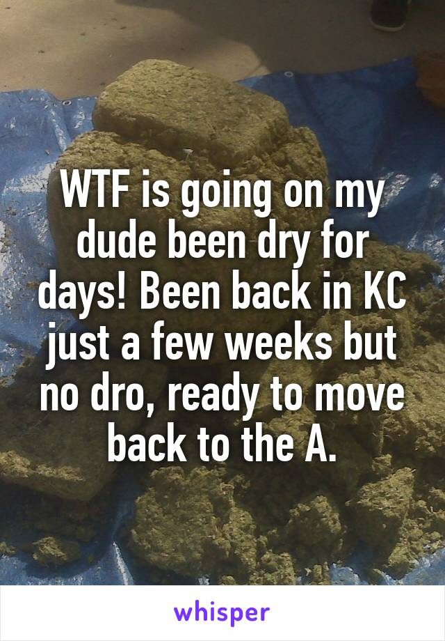 WTF is going on my dude been dry for days! Been back in KC just a few weeks but no dro, ready to move back to the A.