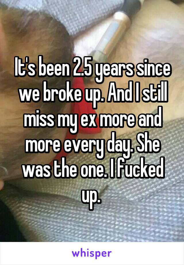 It's been 2.5 years since we broke up. And I still miss my ex more and more every day. She was the one. I fucked up.