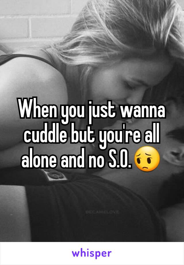 When you just wanna cuddle but you're all alone and no S.O.😔