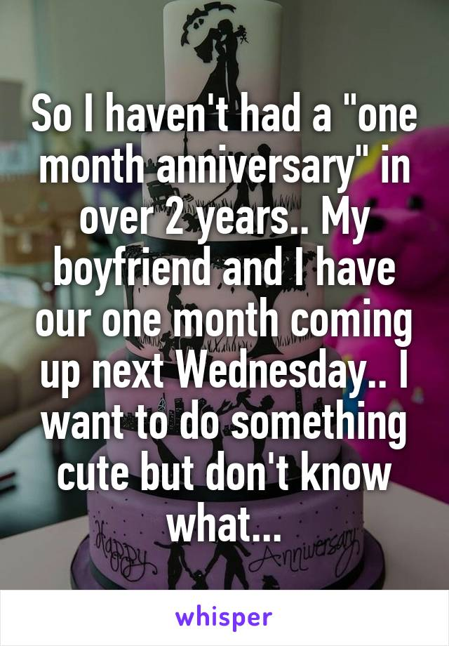 What to do for a one month anniversary sorry