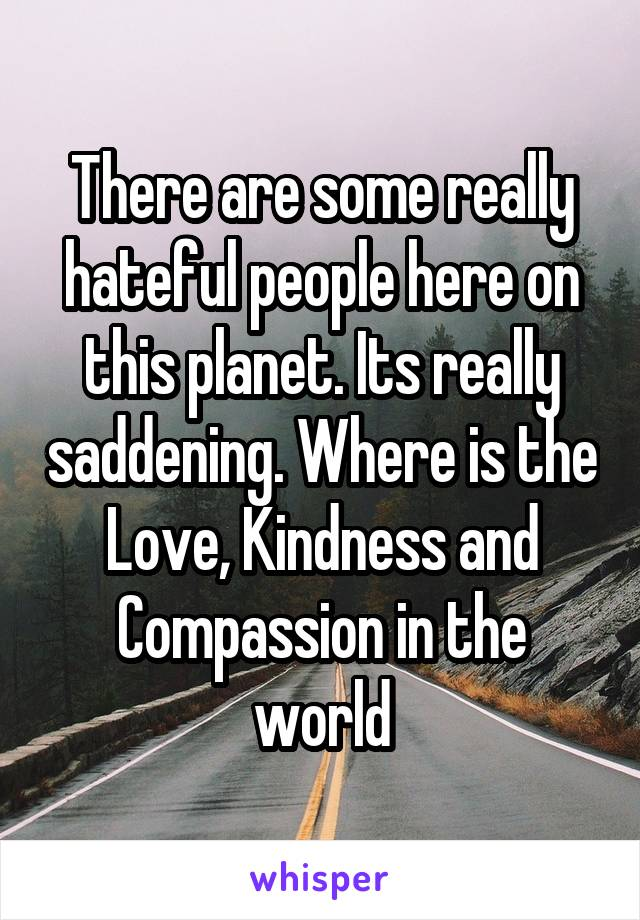 There are some really hateful people here on this planet. Its really saddening. Where is the Love, Kindness and Compassion in the world