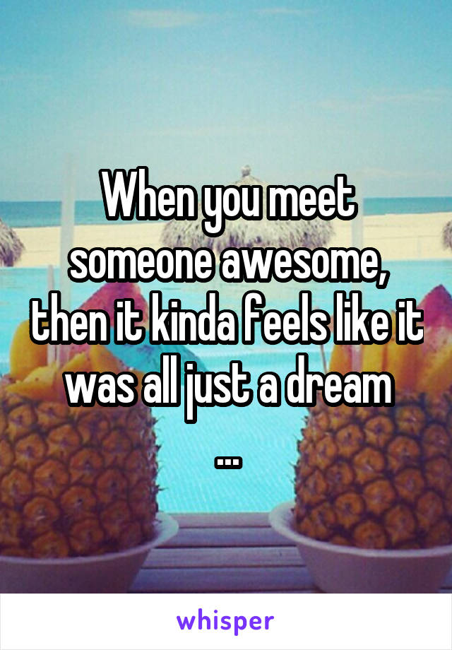 When you meet someone awesome, then it kinda feels like it was all just a dream ...