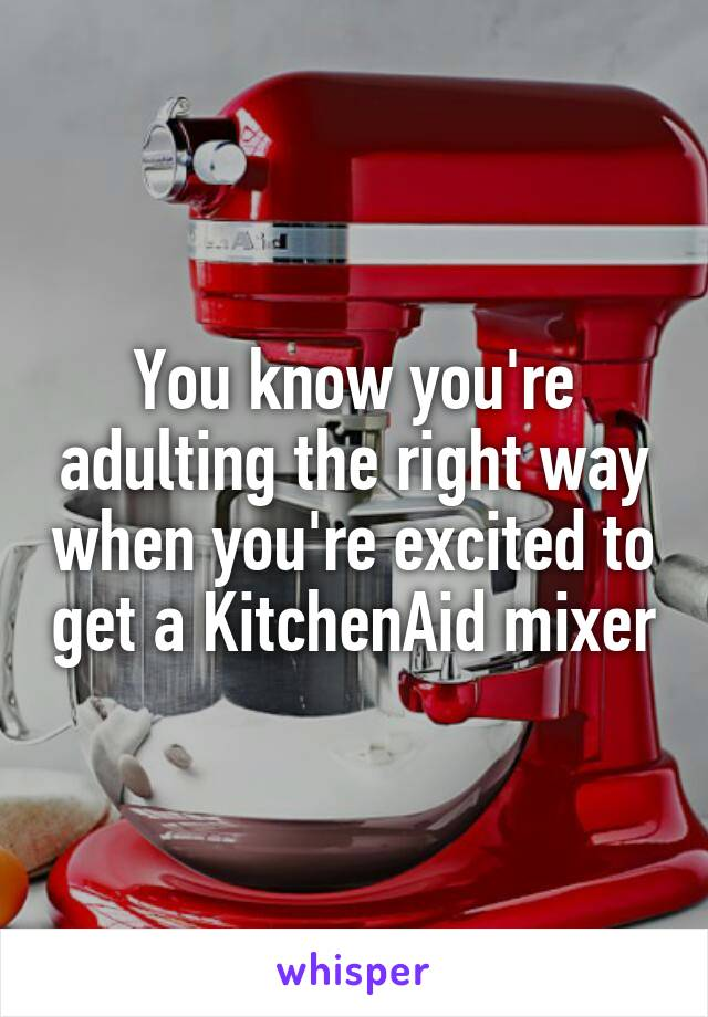 You know you're adulting the right way when you're excited to get a KitchenAid mixer