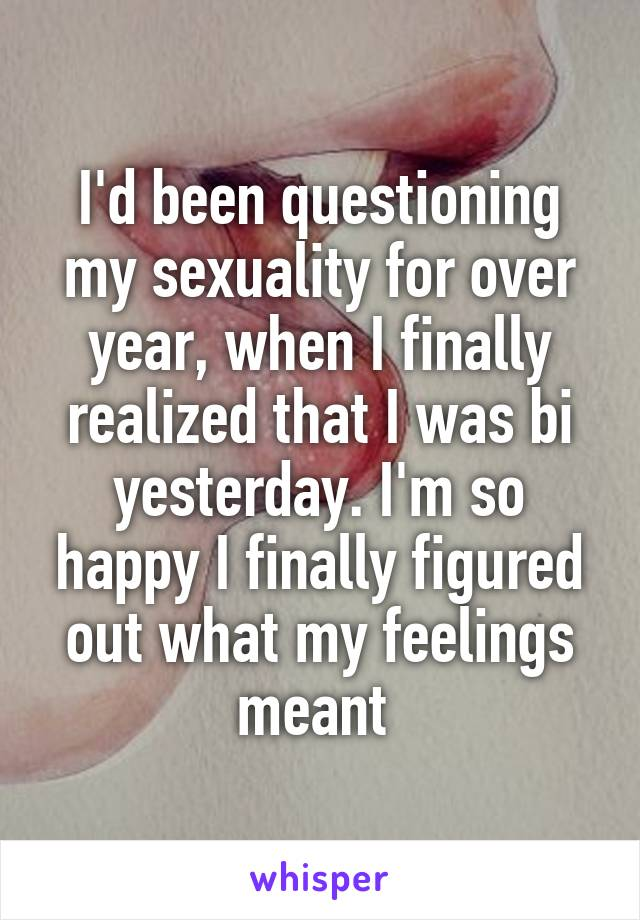 I'd been questioning my sexuality for over year, when I finally realized that I was bi yesterday. I'm so happy I finally figured out what my feelings meant